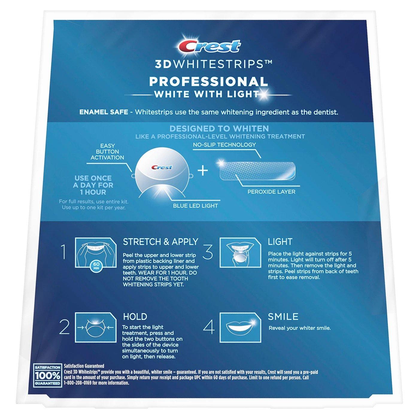 Bělicí pásky Crest Professional white se světlem návod na použití