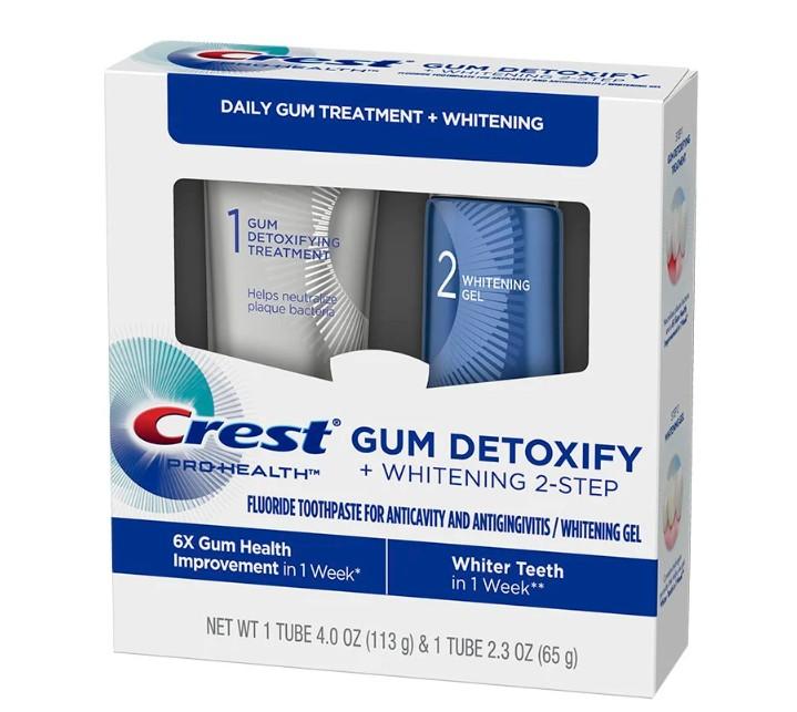 Bělicí gel na zuby a zubní pasta Crest GUM DETOXIFY + WHITENING