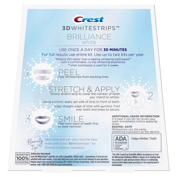 Bělicí pásky Crest Brilliance white návod na použití