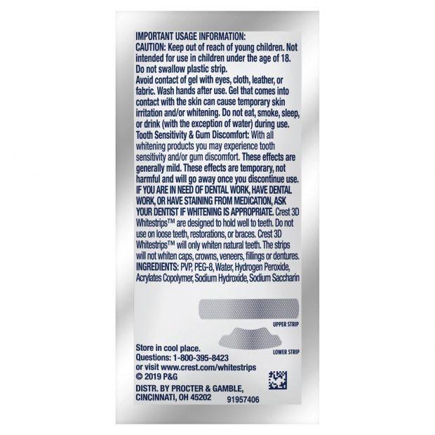 Bělicí pásky Crest Brilliance white složení