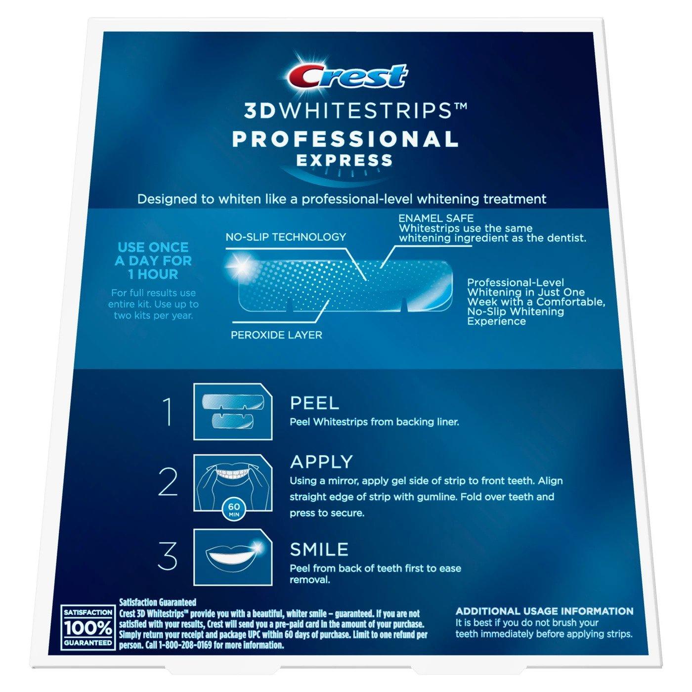 Bělicí pásky Crest Professional express návod na použití