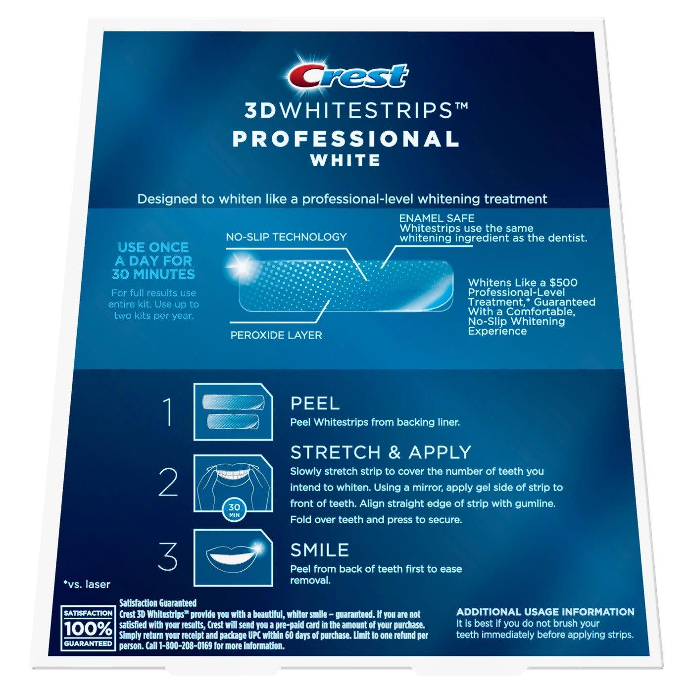 Bělicí pásky Crest Professional white návod na použití